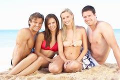 Groupe d'amis appréciant des vacances de plage Image stock