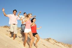 Groupe d'amis appréciant la plage Images stock