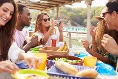 Groupe d'amis appréciant le déjeuner et prenant des photographies Photos libres de droits