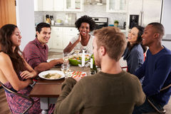 Groupe d'amis appréciant le dîner à la maison Images stock