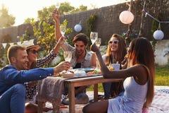 Groupe d'amis appréciant le pique-nique extérieur dans le jardin Image libre de droits