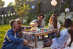 Groupe d'amis appréciant le pique-nique extérieur dans le jardin Images stock