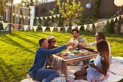Groupe d'amis appréciant le pique-nique extérieur dans le jardin Photographie stock libre de droits