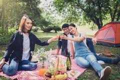Groupe d'amis appréciant le pique-nique tout en buvant d'un jus d'orange o Images libres de droits