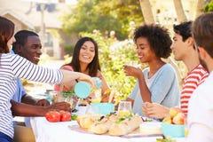 Groupe d'amis appréciant le repas à la partie extérieure dans l'arrière cour Photos libres de droits