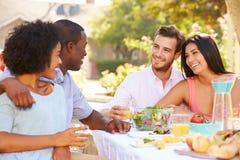 Groupe d'amis appréciant le repas à la partie extérieure dans l'arrière cour Photo stock
