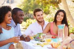 Groupe d'amis appréciant le repas à la partie extérieure dans l'arrière cour Photos stock