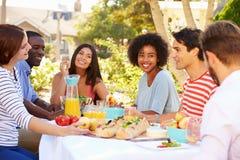 Groupe d'amis appréciant le repas à la partie extérieure dans l'arrière cour Image stock