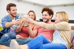 Groupe d'amis appréciant le verre de vin à la maison Photographie stock
