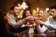 Groupe d'amis appréciant même des boissons dans la barre Photos stock