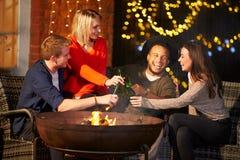 Groupe d'amis appréciant même des boissons par Firepit Photo stock