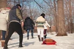Groupe d'amis appréciant tirant un traîneau dans la neige en hiver Photo libre de droits