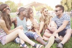 Groupe d'amis au festival Image libre de droits