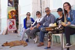 Groupe d'amis avec un chien de sommeil Photos libres de droits