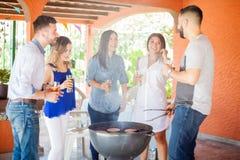Groupe d'amis ayant l'amusement au barbecue Photos libres de droits