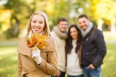 Groupe d'amis ayant l'amusement dans le parc d'automne Photographie stock