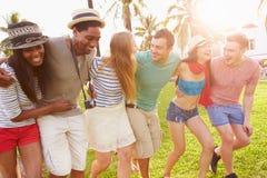 Groupe d'amis ayant l'amusement dans le parc ensemble Image stock