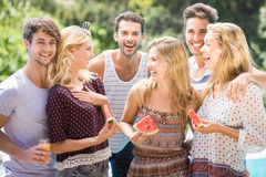 Groupe d'amis ayant l'amusement dehors Photo stock