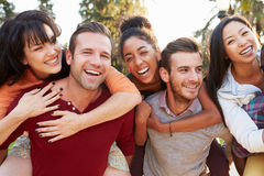 Groupe d'amis ayant l'amusement ensemble dehors Photo libre de droits
