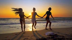Groupe d'amis ayant l'amusement fonctionnant en bas de la plage Image stock