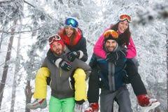 Groupe d'amis ayant l'amusement sur la neige Photos stock