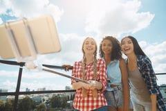 Groupe d'amis ayant la partie de barbecue sur le toit Photographie stock