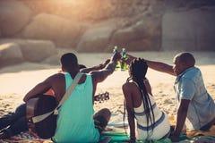 Groupe d'amis ayant la partie de plage Photographie stock
