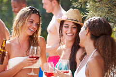 Groupe d'amis ayant la partie par la piscine Image libre de droits