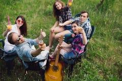 Groupe d'amis ayant le pique-nique dans le parc Images stock