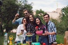 Groupe d'amis ayant le pique-nique dans le parc Photos stock