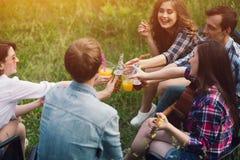 Groupe d'amis ayant le pique-nique dans le parc Images libres de droits