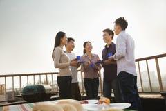 Groupe d'amis ayant un barbecue sur un dessus de toit Image libre de droits