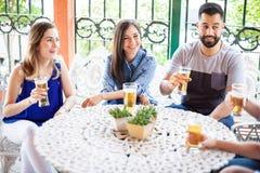 Groupe d'amis ayant une conversation et un boire Photos stock