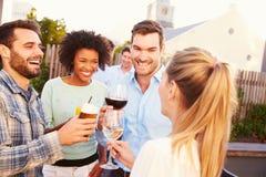 Groupe d'amis buvant à une barre de dessus de toit Image stock