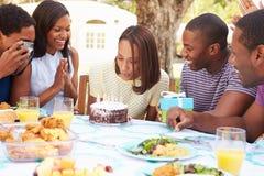 Groupe d'amis célébrant l'anniversaire à la maison Image libre de droits