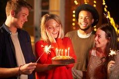 Groupe d'amis célébrant l'anniversaire à la partie extérieure Image stock