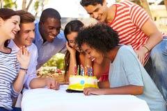 Groupe d'amis célébrant l'anniversaire dehors Photos libres de droits
