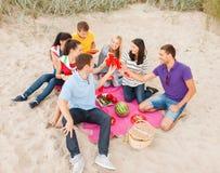 Groupe d'amis célébrant l'anniversaire sur la plage Photo libre de droits