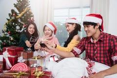 Groupe d'amis célébrant Noël à la maison et le grillage de chapeaux Image libre de droits
