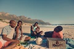 Groupe d'amis détendant à la plage Images libres de droits