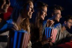 Groupe d'amis dans la salle de cinéma Images stock