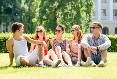 Groupe d'amis de sourire s'asseyant dehors sur l'herbe Photos stock