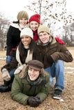 Groupe d'amis dehors en hiver Images stock
