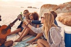 Groupe d'amis des vacances de plage Images libres de droits