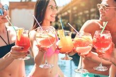 Groupe d'amis ensemble dans les loisirs de piscine Images libres de droits