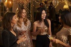 Groupe d'amis féminins appréciant le cocktail ensemble Photographie stock libre de droits