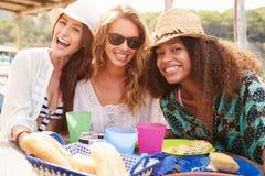 Groupe d'amis féminins appréciant le déjeuner dehors Photo stock