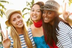 Groupe d'amis féminins ayant l'amusement dans le parc ensemble Photographie stock libre de droits