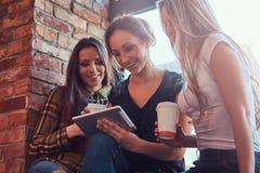 Groupe d'amis féminins dans des vêtements sport discutant tout en regardant quelque chose sur un comprimé numérique dans une cham Image libre de droits