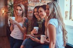 Groupe d'amis féminins dans des vêtements sport discutant tout en regardant quelque chose sur un comprimé numérique dans une cham Photos libres de droits